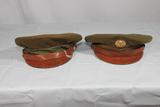 2 US WW2 Enlisted Doeskin Wool Visor Caps.