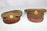 2 US WW2 Enlisted Crusher Style Doeskin Wool Visor Caps.