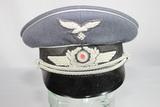 WW2 German Luftwaffe Officer's Visor Cap. All Bullion Insignia. Sze 56 Reenactor Piece.