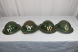 4 WW2 British Air Raid Warden W Helmets W/ Liners.