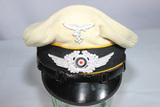 WW2 German Luftwaffe Enlisted White Flight Piped Visor Cap. Reproduction.