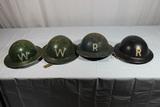 4 WW2 British Home Front Helmet's 2 W Warden & 2 Unknown R Marked Helmets.