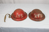 2 WW2 British AFS Auxiliary Fire Service Red Helmets