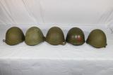 Lot of 5 Post WW2 Russian SSh-40 Steel Combat Helmets. Early. 1 W/ Red Star.