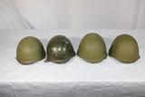 Lot of 4 Post WW2 Cold War Russian SSh-40 Steel Combat Helmets. 1 Overpaint.
