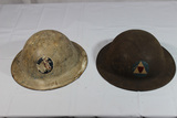 2 US WW1 Style WW2 Civil Defense Helmets.