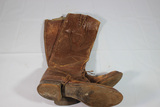 US WW1 Officer's Tall Boots. Heavily Worn. No Size Mark. Stiff & Dry.