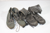 Late 1980's US Black Leather Combat Boots & Navy Swimming Shoes.