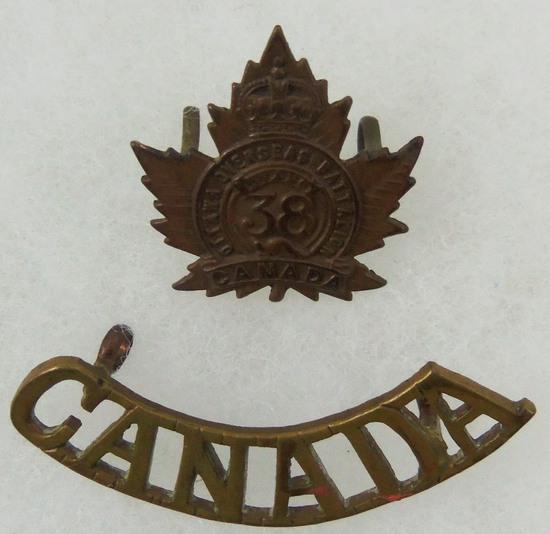 WW1 38th Ottawa Overseas Battalion Cap Badge/Canada Corps Shoulder Title