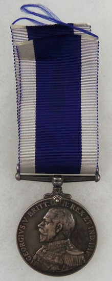 WW1 Sterling Silver George V Royal Navy Long Service & Good Conduct Medal with Ribbon - Named