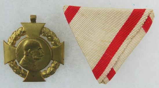 Pre-WW1 Kaiser Franz Joseph I 60th Crowned Jubilee Medal w/ Tri-Folded Ribbon