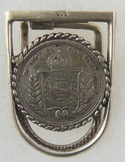 1853-1867 Brazilian 500 Reis Coin Money Clip