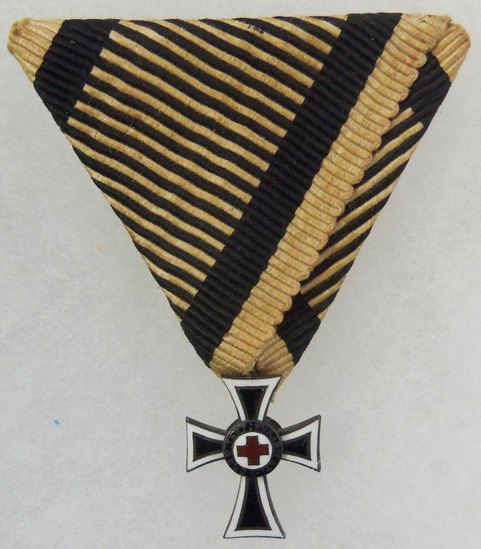 An Austrian Marian Cross of the German Knight Order Breast Badge with Ribbon