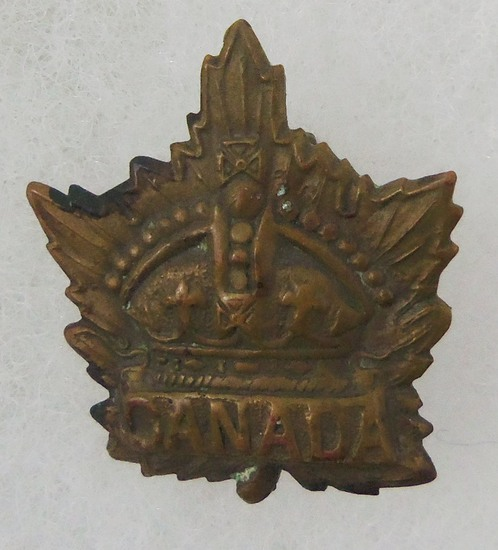 WW1/WW2 Canadian Crown Maple Leaf Military Cap Badge