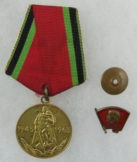 2 pcs. Russian Jubilee Medal/Lenin CCCP Lapel Pin