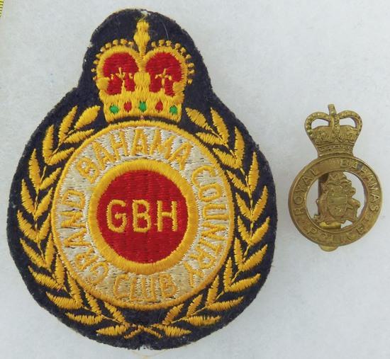 2 pcs. Royal Bahamas Police Cap Badge/Grand Bahama Country Club Breast Patch