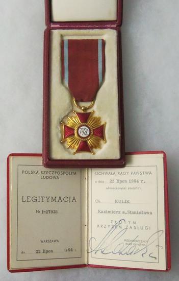 Polish Cross of Merit Cased Medal with Award Document