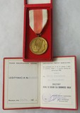 Polish Peoples Repub. Bronze Medal of Merit for Defense of the Country/Award Certificate - Named