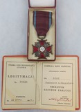 Poland Silver Cross of Merit cased Medal with Award Document