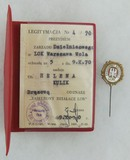 Poland LOK (National Defense League) Bronze Stick Pin/Award Document - Named