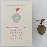 Poland FJN (National Unity Front) Bronze Badge/Named Award Document/Instruction Card