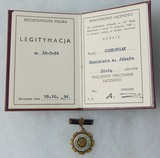 Polish PRL Gold Meritorious Communications Worker Badge with Award Document