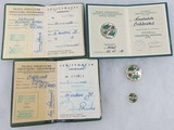Polish PTTK Silver Honor Badge/Award Document/Membership and Polish Tourism Dues Booklet - Named