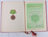 DDR East German 1976 Volkspolizei Meritorious Service Bronze Award Document/Presentation Folder