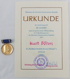 DDR East German Pestalozzi 30 Year Long Service Medal/Award Document