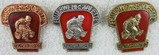 3 pcs. DDR East German Fireman's District Hose Carry Competition Badge Set