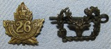 2pcs-WW1 Period Canadian Cap Badges. 26th New Brunswick Battalion, CEF