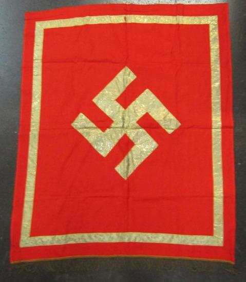 Podium Banner With Gold Swastika/Border/Fringe-Single Sided.