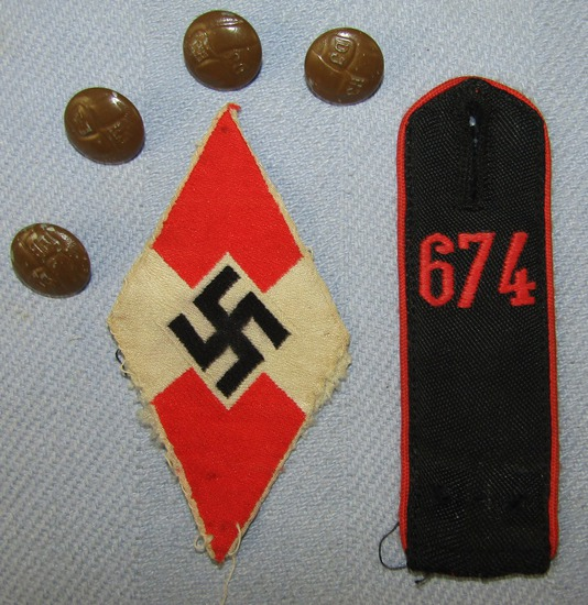 6pcs-Hitler Youth Uniform Insignia-Buttons-Arm Patch Shoulder Board