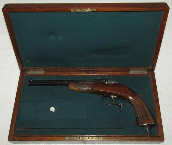 "Ca, 1870-1880's  ""Flobert"" Parlor Pistol With Original Wood Case-Austrian Made"