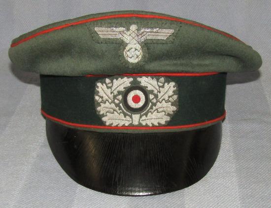 """Rare WW2 Period """"Alte Arte"""" Artillery Officer's Crusher Visor Cap By EREL"""