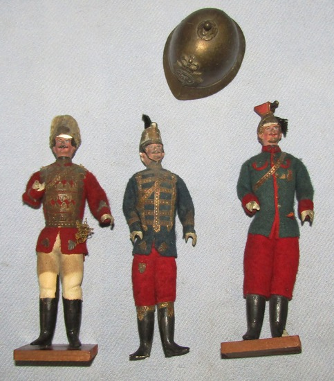 "4pcs-Early 1900's Composite Polish/Hungarian Cavalry Soldier ""Dolls""-Brass Pith Helmet Bell"