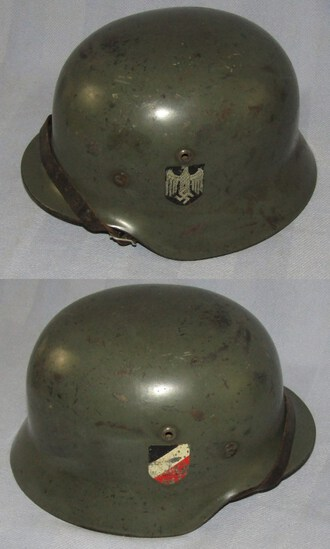 M35 Double Decal Heer Combat Helmet With Chin Strap-Q66