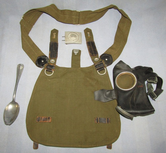 4pcs-WW2 German Army Bread Bag-Belt Buckle-Officer's Mess Kit Spoon-Civil Gas Mask