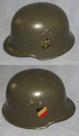 WW2 Double Decal Heer Aluminum Parade Helmet