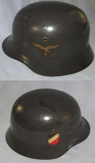 Double Decal M35 Luftwaffe Helmet-Parade Finish-Q66-Named
