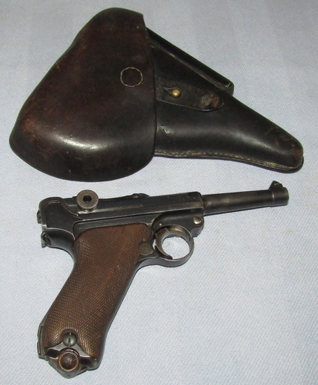 Double Date (1917-1920) Stamped Weimar Police Luger-ERFURT- Original Finish W/Modified Holster