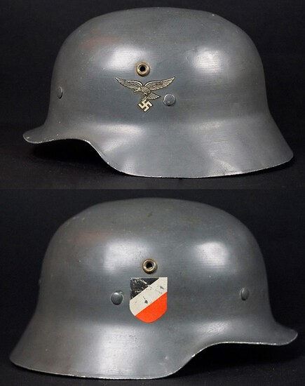 Rare Double Decal Luftwaffe Parade Helmet W/Liner/Chin Strap