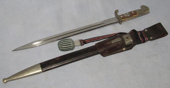 "Long Model Nazi Police ""Bayonet W/Scabbard-Unit Marked-Matching #ers-F.W. Holler"