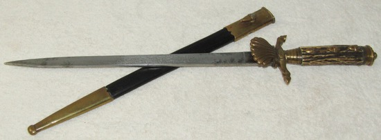 Early Pre War German Hunting Hirschfanger With Scabbard-Etched Blade-ALCOSO