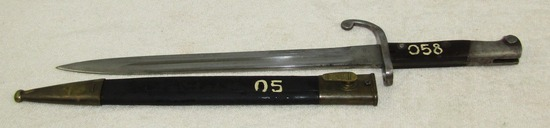 Scarce M1908 Brazilian Mauser Bayonet-Matching Numbers With Leather Scabbard-Arsenal Markings