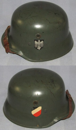 Rare WW2 Period Heer Double Decal Fiberglass Parade Helmet With Chin Strap By EREL