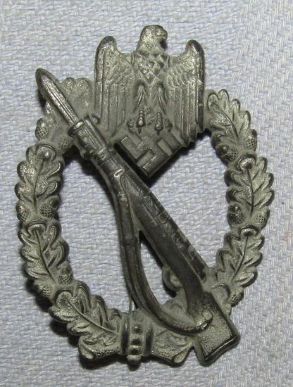 WW2 period Die Struck Fein-Zinc Infantry Assault Badge By BSW