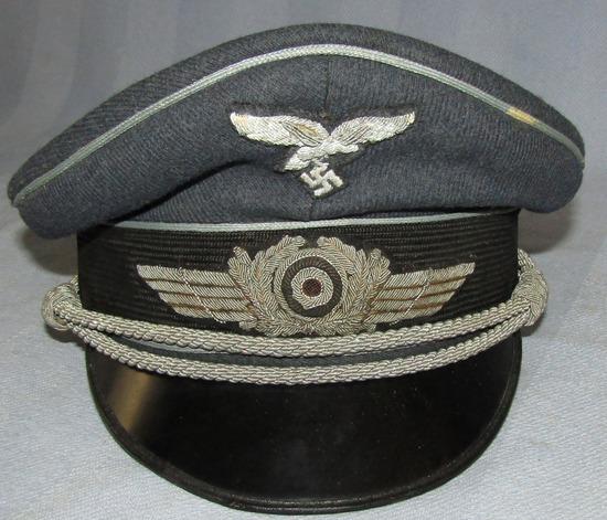 Luftwaffe Officer's Visor Cap W/Bullion Insignia-Vented Cockade