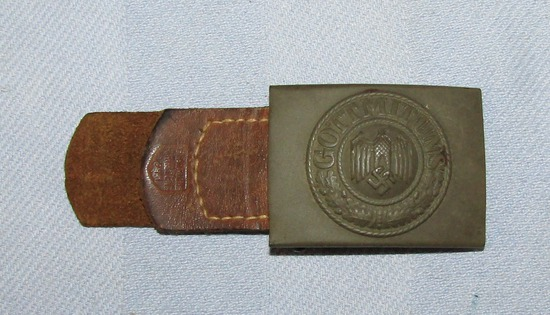 Wehrmacht Belt Buckle With Tropical Finish-Leather Tab-H. Aurich Dresden 1941