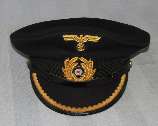 Scarce WWII Kriegsmarine Visor Cap For Rank Of Lieutenant